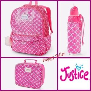 Justice Backpack Mermaid Flip Sequin Set Bottlw